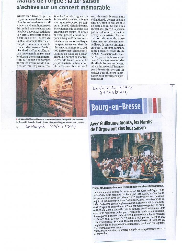 Le Progrès / La Voix de l'Ain 25.07.2014
