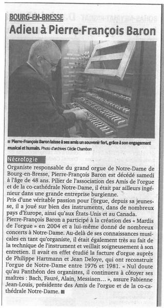 Article hommage Pierre-François Baron